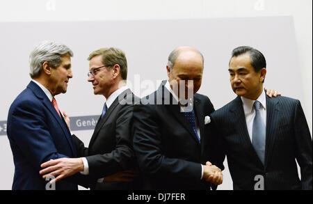Geneva, Switzerland. 24th Nov, 2013. U.S. Secretary of State John Kerry, German Foreign Minister Guido Westerwelle, - Stock Photo