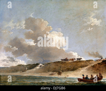 Peter Francis Bourgeois, Coastal Landscape with a Ferry Boat 1796 Oil on canvas. Yale Center for British Art, New Haven, USA.