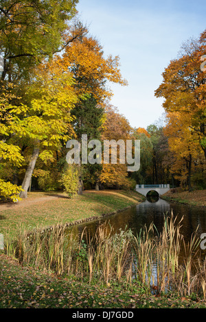 Canal and autumn trees in the Royal Lazienki Park (Polish: Lazienki Krolewskie, Park Lazienkowski), city of Warsaw, - Stock Photo