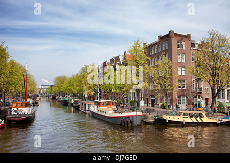Prinsengracht and Brouwersgracht canals in the city of Amsterdam, the Netherlands, North Holland province. - Stock Photo