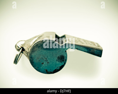 A silver Sports Whistle - Stock Photo
