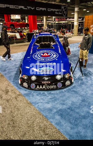 Automobile club of Southern California's dragster at the Los Angeles International Auto Show 2013 - Stock Photo