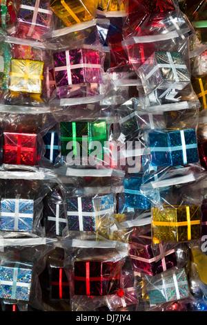 Vietnam, Ho Chi Minh City, Cholon District, Binh Tay Market, cellophane-wrapped Christmas gift boxes - Stock Photo