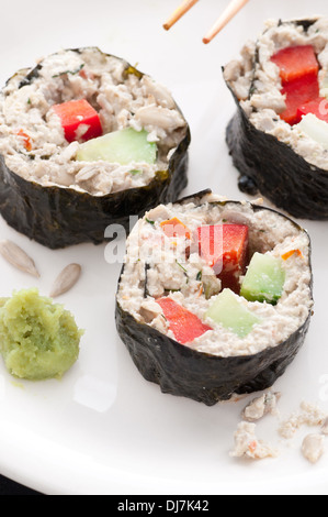 Raw food zippy tuna rolls. - Stock Photo