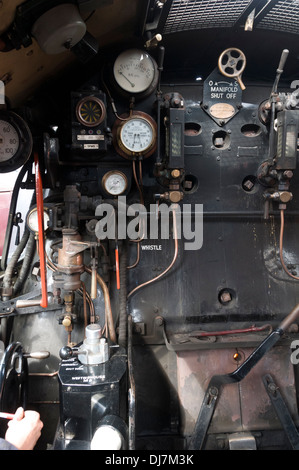 Inside the cab of BR standard class 7 70000 Britannia steam locomotive at Crewe, Cheshire, England, UK.  Built 1951. - Stock Photo