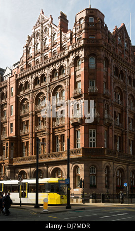 The Midland Hotel with a passing Metrolink tram, Lower Mosley Street, Manchester, England, UK - Stock Photo