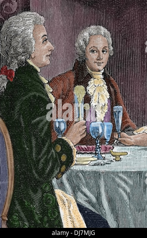 Banquet in honor Mozart . Composer Wolfgang Amadeus Mozart (1756-1791) and the Italian composer Antonio Salieri - Stock Photo