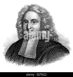 Portrait of Edmond Halley, 1656 - 1742, an English astronomer, geophysicist, mathematician, meteorologist, - Stock Photo