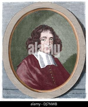 Baruch Spinoza (1632-1677). Dutch philosopher. Engraving by E. Fessard. Copy, 19th century. - Stock Photo
