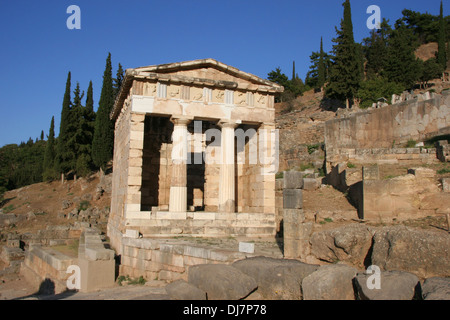 Greece. Delphi. The Athenian Treasury. Doric style. 490 BC. - Stock Photo