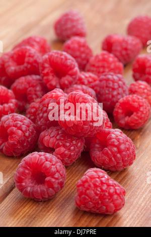 Detail of fresh raspberries - Stock Photo