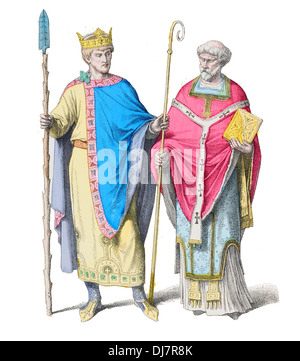 10th Century X Germany King Henry II 2nd Holy Roman Emperor and a Frankish Priest - Stock Photo