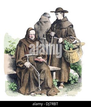 Franciscan monks late 18th century XVIII - Stock Photo