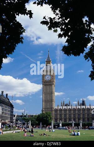 Big Ben and Parliament Square in summer, Westminster, London UK - Stock Photo