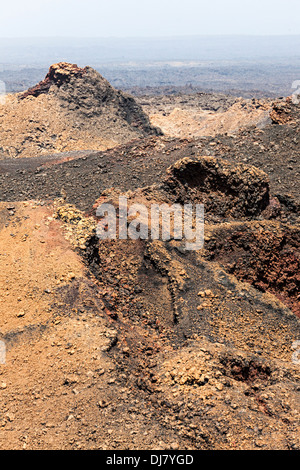 Lava field, Timanfaya, Lanzarote, Canary Islands, Spain - Stock Photo