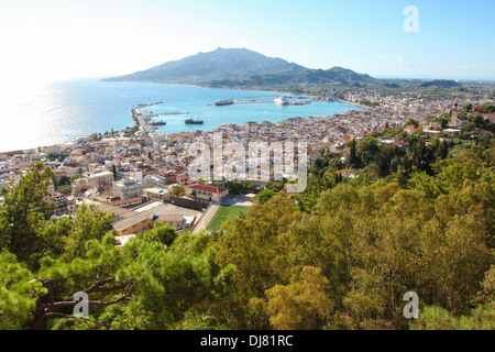 View on Zakynthos city, capital of the island Zakynthos in the Ionian sea in Greece. Zakynthos is a famous tourist - Stock Photo