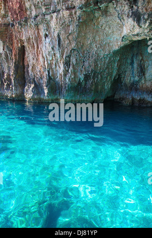 Famous blue caves in Zakynthos, Ionian islands, Greece. - Stock Photo