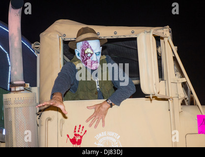 An unidentified participant at the annual Las Vegas Halloween parade held in Las Vegas , Nevada