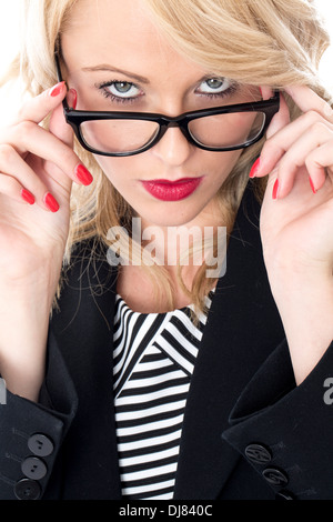 Model Released. Serious Thoughtful Young Business Woman - Stock Photo