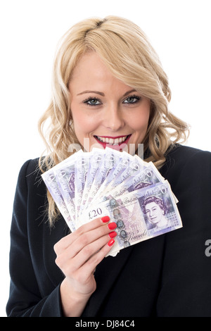 Young Happy Successful Business Woman Holding Money After Closing A Deal Against A White Background - Stock Photo
