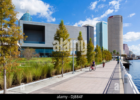 The Tampa Museum of Art from the Riverwalk along the Hillsborough River, Tampa, Florida, USA Stock Photo