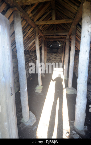 Inside a traditional stone and turf hut in the historic village of Sel, Vatnajokull National Park, Iceland - Stock Photo