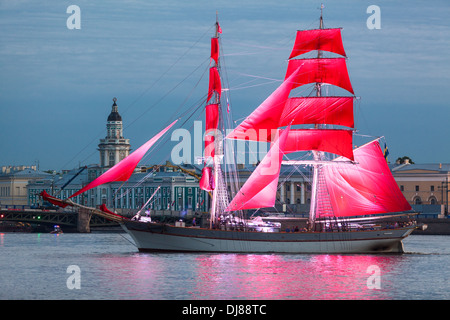 Celebration Scarlet Sails show during the White Nights Festival, St. Petersburg, Russia. Ship near Palace bridge - Stock Photo