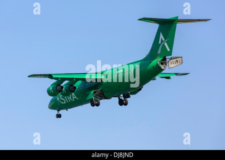 British Aerospace systems Bae 146 RJ of the Greek airline Astra airlines on finals - Stock Photo
