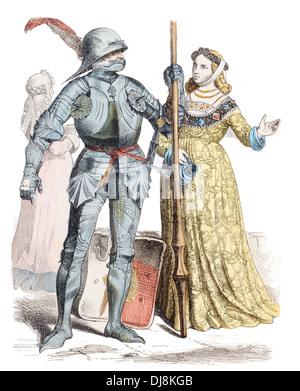 mid 15th Century XV German Knight and Noble lady - Stock Photo