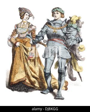 Early 16th Century XVI German Prince and princess - Stock Photo