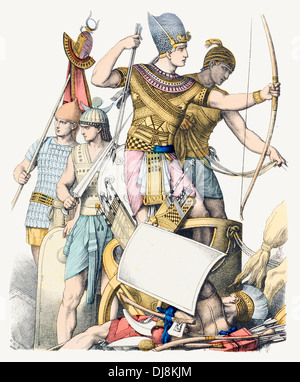 Pre Christian BC Ancient Egypt Charioteer and King in War Dress with Soldiers - Stock Photo