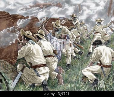 Cuban War of Independence (1895-1898). Rebels at a roadblock,1898. Colored engraving. - Stock Photo