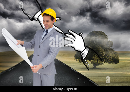 Composite image of smiling architect with hard hat looking at plans - Stock Photo