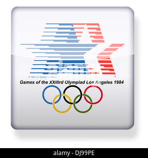 Los Angeles 1984 Olympics logo as an app icon. Clipping path included. - Stock Photo