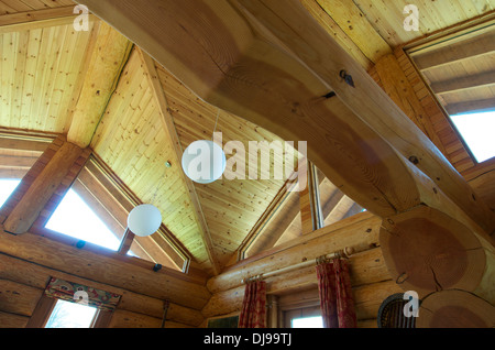 Ceiling of Eco Log Cabin, Shrophsire, UK - Stock Photo