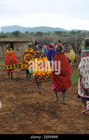Maasai tribe, Masai Mara, Rift Valley Province, Kenya, East Africa - Stock Photo