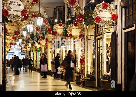 Picadilly Arcade, London, England, UK, December 2010, Christmas, Shopping, Winter. Lagoon Images - Stock Photo