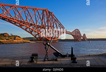 Forth Rail Bridge viewed from North Queensferry, Scotland UK - Stock Photo