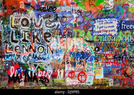 Prague, Czech Republic. John Lennon Wall - graffiti (2011) - Stock Photo