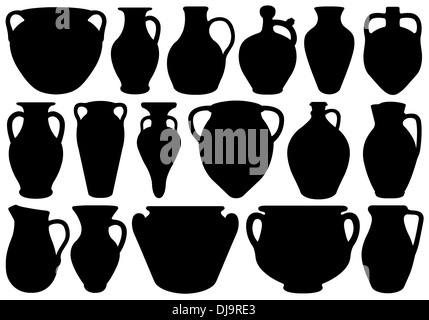 Set of different clay pottery - Stock Photo
