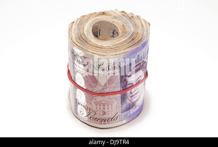 wad of twenty pound notes on white background - Stock Photo