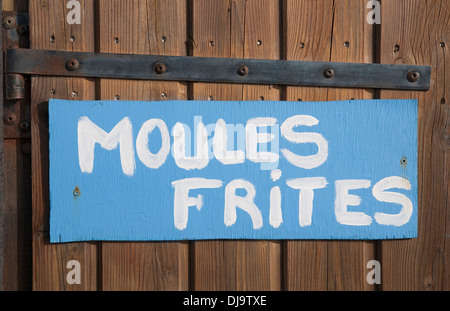 moules frites sign, normandy, france - Stock Photo