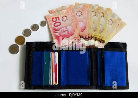 Canadian wallet with Canadian money. - Stock Photo