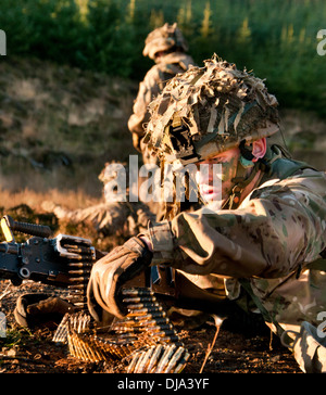 British Army soldiers from the Rifles on exercise - Stock Photo