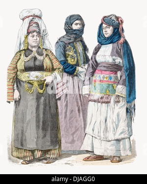 19th century XIX Kurdish woman (left) women from Preveza (cente) and Chios (Right) - Stock Photo