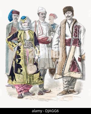 19th century XIX Ethnic costumes from left to right Stodra Urnaute Prizren and Jannena - Stock Photo