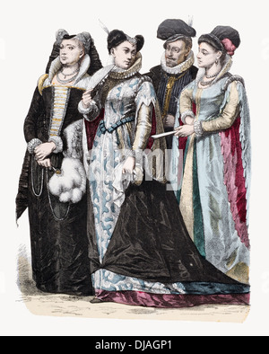 16th Century XVI  Italian costume Left to right Venice, Milan, and Florence - Stock Photo