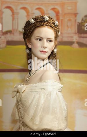 Wax figure of Empress Sisi or Empress Elisabeth of Austria, Queen of Hungary, Madame Tussauds Museum, Vienna, Austria - Stock Photo
