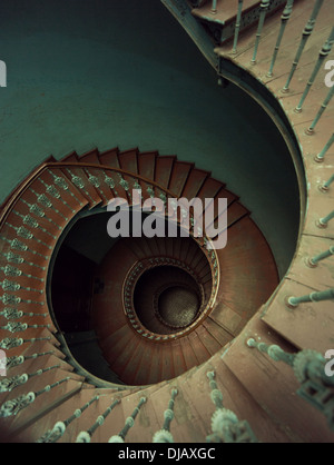 Old wooden spiral stairs in ancient palace - Stock Photo