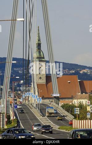 Bratislava, bridge Novi Most, coronation church, Slovak Republic - Stock Photo